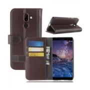 Nokia 7 Plus Echt Lederen Wallet Stand Hoesje Bruin
