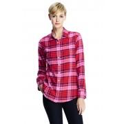 ランズエンド LANDS' END レディース・美型シルエット・フランネル・シャツ/長袖(ブライトチェリープラッド)