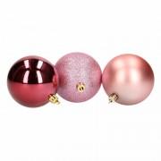 Geen Kerstboom decoratie kerstballen mix roze/bordeaux 6 stuks