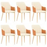 vidaXL Трапезни столове, 6 бр, кафяво и кремаво, текстил