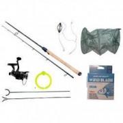 Set lanseta doua tronsoane 300 cm pescuit sportiv cu accesorii