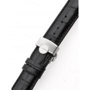 Curea de ceas Perigaum Lederband 22 x 175 mm schwarz silberne Faltschliesse