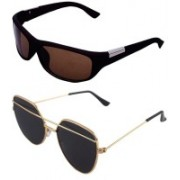 Daller Wrap-around, Retro Square Sunglasses(Black, Brown)