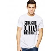 Tricou alb barbati - Straight Outta Mehedinti