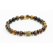 Karkötő, gyöngyből, tigrisszem, piros tigrisszem, hematite, arany színű Buddha dísszel, 8mm, ART CRYSTELLA (RSWK0053)