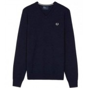 FRED PERRY Classic V Neck Sweater Dark Carbon (L)