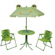 vidaXL Детски градински бистро комплект с чадър, зелен