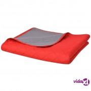 vidaXL Dvostrani Prošiveni Prekrivač Crveno-Sivi 220x240 cm