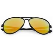 Aviator zonnebril zwart | rood-gele spiegel lenzen