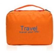 Everbuy Travel your life! womens Ladies toiletry storage bag hanging folding cosmetic organizer large capability pouch - Orange(Orange)