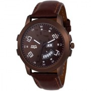 Mark Regal Round Dail Brown Leather Strap Analog Watch For Mens-MR-DD(01)