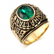 Clásico De Diamantes Anillo De Esmeralda Tendencia De La Joyería De Los Hombres --dorado
