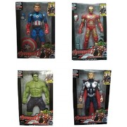 X Zini Four Avenger Hulk, Captain America, Thor and Iron Man with Weapons Twist and Move Avengers Age of Ultron Action Figure 19 cm with LED Light.