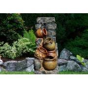OEM D00144 Záhradná fontána - fontána so štyrmi vázami, čerpadlom a osvetlením