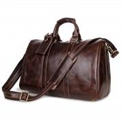 Delton Bags Stilvolle braune Reisetasche aus Echtleder
