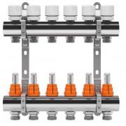 Set distribuitor inox tur/retur cu debitmetru IVAR 1 x EK - 7 cai