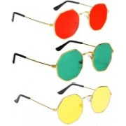 SRPM Retro Square Sunglasses(Red, Green, Yellow)