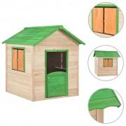 vidaXL Детска къща за игра, дърво, зелена