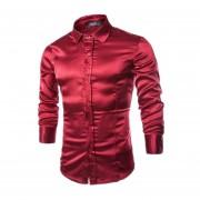 Hombres Largo Ocasional Slevee Turn-down Collar Mezcla De Algodón Camisa De Vestir (Borgoña)