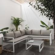Happy Garden Salon de jardin modulable IBIZA en tissu gris 4 places - aluminium blanc