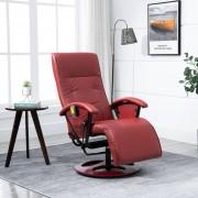 vidaXL Fotel masujący, kolor czerwonego wina, sztuczna skóra