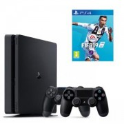 Конзола PlayStation 4 Slim 500GB Black, Sony PS4+Игра FIFA 19 за PlayStation 4+Геймпад - Sony PlayStation DualShock 4 Wireless, версия 2, черен