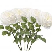 Merkloos 5x Witte rozen kunstbloemen 66 cm