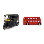 The Game Begins Combo Toys of Pull Back and Go Auto Rickshaw and Double Decker Bus (Black and Red, Mini, Small Size) - Set of 2 Toys