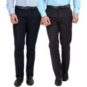 Gwalior Pack Of 2 Slim Fit Formal Trousers (Blue Grey)