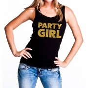 Bellatio Decorations Party Girl glitter tanktop / mouwloos shirt zwart dames