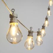Luci Da Esterno Catenaria 5,5 metri con 10 lampadine vintage, cavo bianco, led bianco caldo, prolungabile