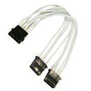 Cablu adaptor Y Nanoxia 4-pini Molex la 2x 4-pini Molex, 20cm, White
