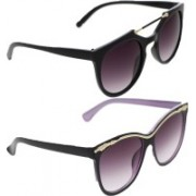 Vast Round, Cat-eye, Retro Square Sunglasses(Grey, Violet)