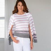 Smedley twinset in blokstreep, roze/grijs, 42 - wit/roze/grijs