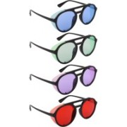 NuVew Round, Shield Sunglasses(Blue, Green, Violet, Red)