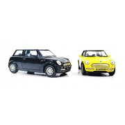 2 Combo Mini Cooper Die cast car toy (Black Yellow)