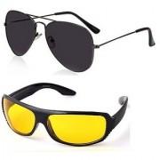 Ediotics Attitude Black Aviator Sunglasses Yellow Night Driving Sunglasses