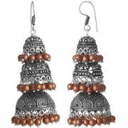 Spargz Beautiful Silver Oxidized Brown Beads Three Laher Jhumkas Earring For Women AIER_1079