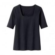 Bio-shirt met carré-hals, zwart 42