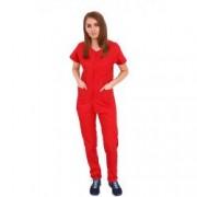 Costum medical dama cu anchior in forma V cu trei buzunare aplicate rosu XS INTL