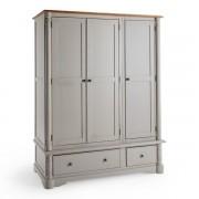 Oak Furnitureland Rustic Solid Oak and Painted Wardrobes - Triple Wardrobe - Roman Range - Oak Furnitureland