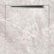Cadita de dus slim AquaNit Slope Fiori di Pesca, 90x90 cm, tip marmura, Alb + sifon din inox