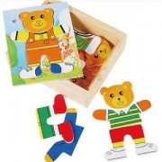 Alcoa Prime Box of Wooden Dress-Up Bear Mix Outfits Kids Puzzle Playset Educational Toy