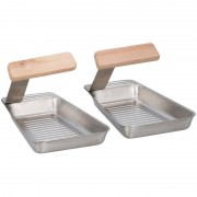 BBQ Collection Barbecue pannen RVS 17 x 11 cm met spatel