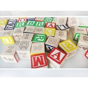 CraftDev 27 Pcs ABC / 123 Wooden Blocks Letters Numbers for kids, Size 3 cm each Block