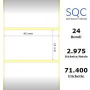 Etichette SQC - polipropilene lucido (bobina), formato 45 x 25