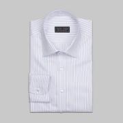Tailor Store Vit/blårandig skjorta i ekologisk bomull