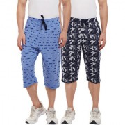 Vimal-Jonney Ripped Look Sky Blue And Camouflage Print 3/4th/Capri For Men(Pack Of 2)