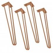 [en.casa]® Stylové stolové nohy 3 – sada noh (4 kusová) - 72 cm - bronzové