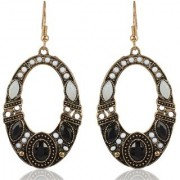 Sanaa Creations Black and Gold Alloy Dangle Drop Hanging Earrings for Women New Year Special offer for Wmenen